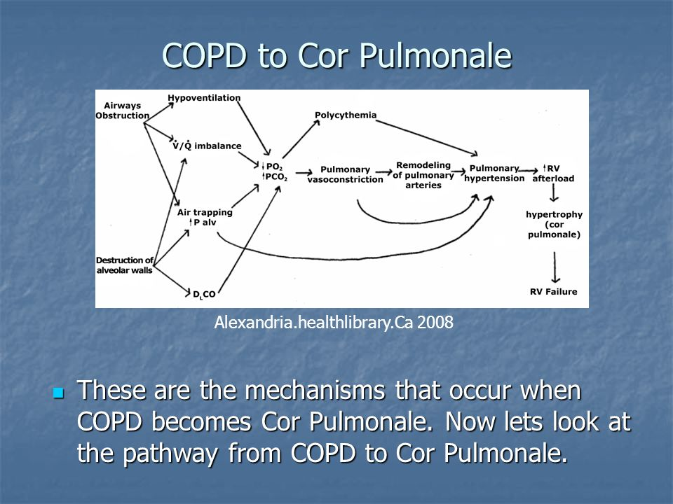 COPD to Cor Pulmonale These are the mechanisms that occur when COPD becomes Cor Pulmonale. Now lets look at the pathway from COPD to Cor Pulmonale. Th