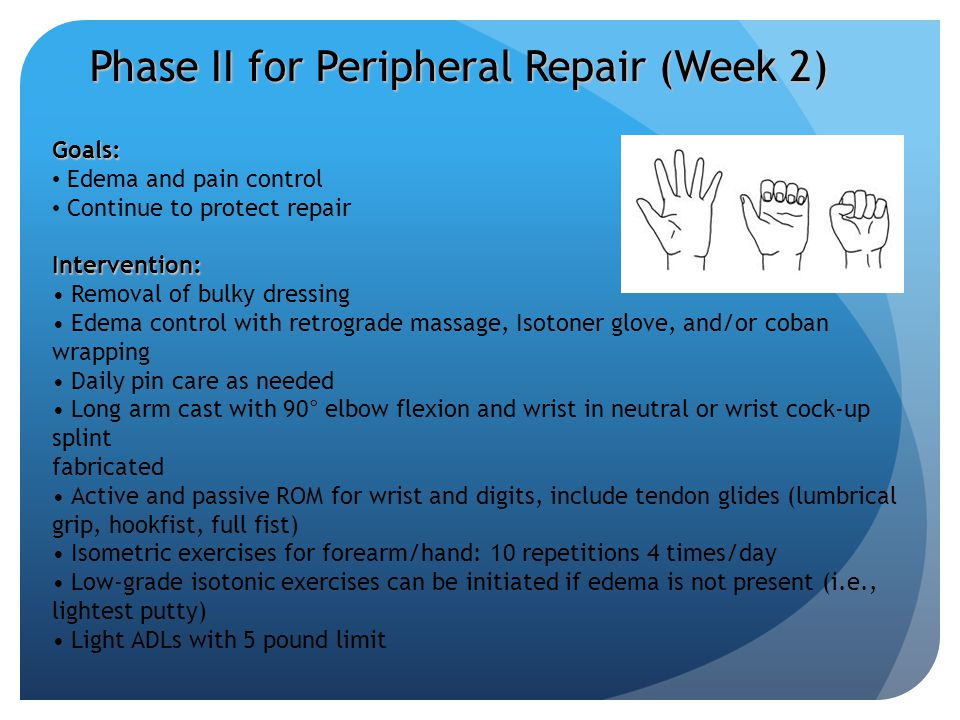 Phase II for Peripheral Repair (Week 2) Goals: Edema and pain control Continue to protect repairIntervention: Removal of bulky dressing Edema control