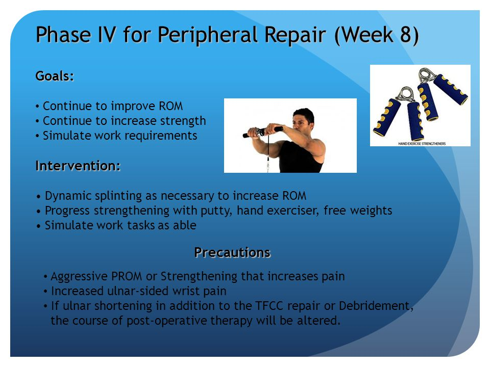 Goals: Continue to improve ROM Continue to increase strength Simulate work requirementsIntervention: Dynamic splinting as necessary to increase ROM Pr