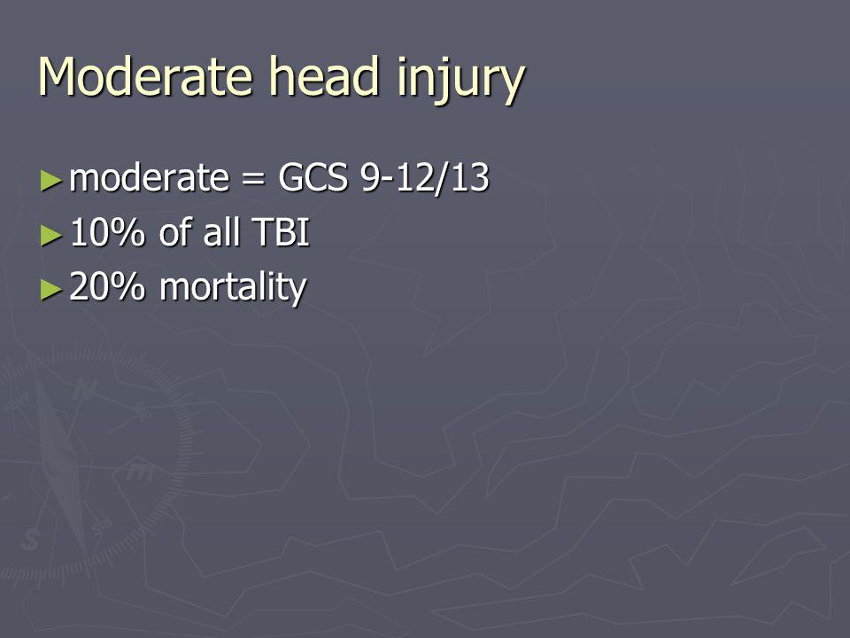 Moderate head injury ► moderate = GCS 9-12/13 ► 10% of all TBI ► 20% mortality