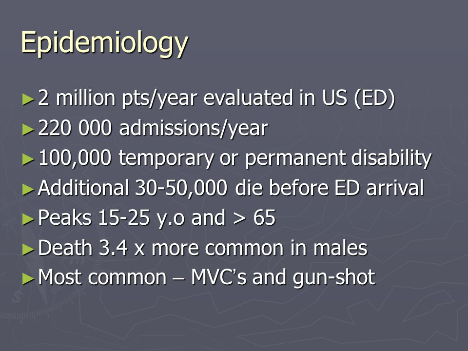 Epidemiology ► 2 million pts/year evaluated in US (ED) ► 220 000 admissions/year ► 100,000 temporary or permanent disability ► Additional 30-50,000 di