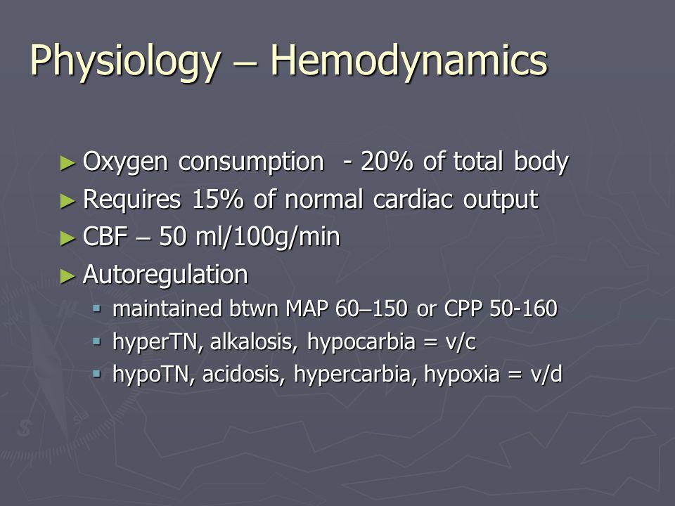 Physiology – Hemodynamics ► Oxygen consumption - 20% of total body ► Requires 15% of normal cardiac output ► CBF – 50 ml/100g/min ► Autoregulation  m