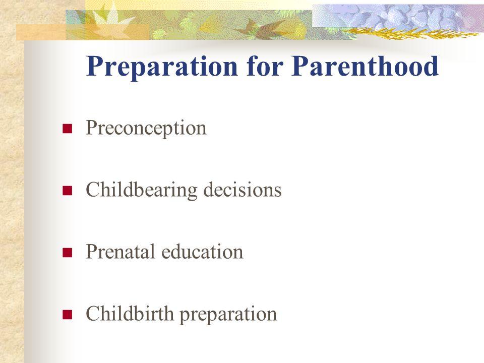 Preparation for Parenthood Preconception Childbearing decisions Prenatal education Childbirth preparation