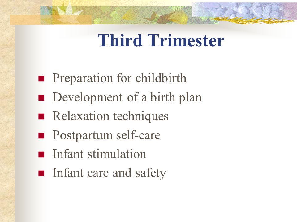 Third Trimester Preparation for childbirth Development of a birth plan Relaxation techniques Postpartum self-care Infant stimulation Infant care and safety