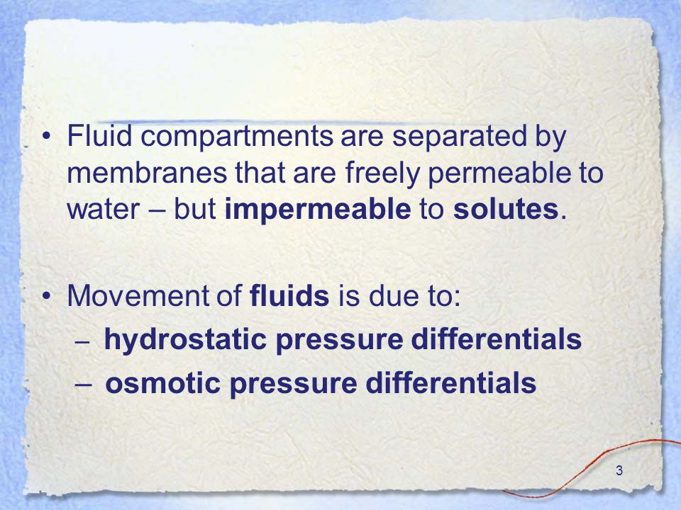 3 Fluid compartments are separated by membranes that are freely permeable to water – but impermeable to solutes.