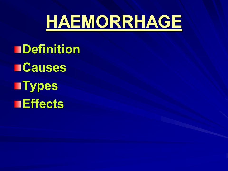 HAEMORRHAGE DefinitionCausesTypesEffects