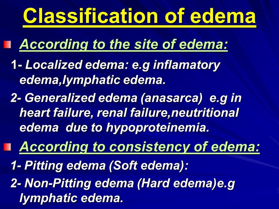 Classification of edema According to the site of edema: 1- Localized edema: e.g inflamatory edema,lymphatic edema. 1- Localized edema: e.g inflamatory