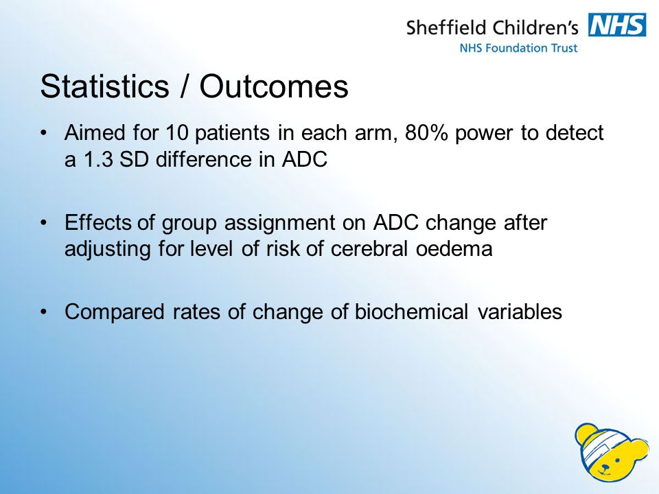 Statistics / Outcomes Aimed for 10 patients in each arm, 80% power to detect a 1.3 SD difference in ADC Effects of group assignment on ADC change afte