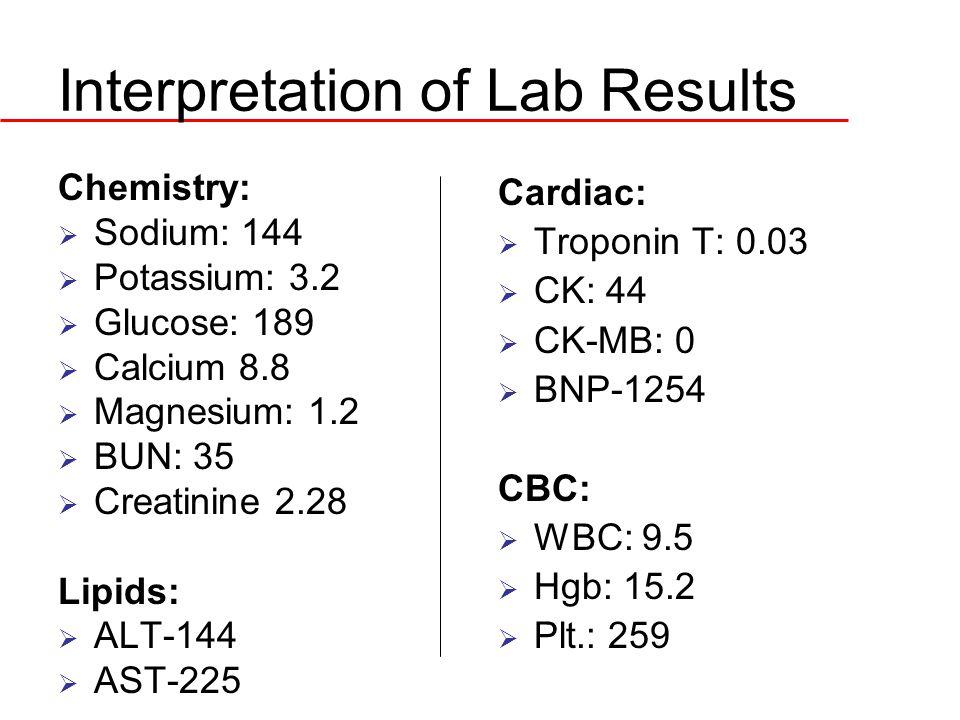Interpretation of Lab Results Chemistry:  Sodium: 144  Potassium: 3.2  Glucose: 189  Calcium 8.8  Magnesium: 1.2  BUN: 35  Creatinine 2.28 Lipi
