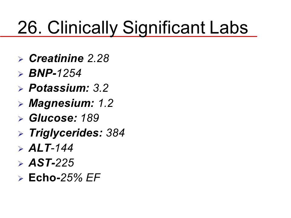 26. Clinically Significant Labs  Creatinine 2.28  BNP-1254  Potassium: 3.2  Magnesium: 1.2  Glucose: 189  Triglycerides: 384  ALT-144  AST-225