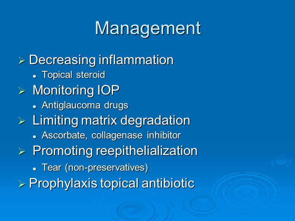 Management  Decreasing inflammation Topical steroid Topical steroid  Monitoring IOP Antiglaucoma drugs Antiglaucoma drugs  Limiting matrix degradat