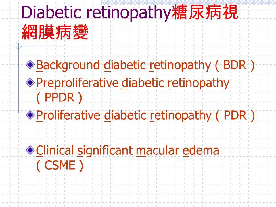 Diabetic retinopathy 糖尿病視 網膜病變 Background diabetic retinopathy ( BDR ) Preproliferative diabetic retinopathy ( PPDR ) Proliferative diabetic retinopat