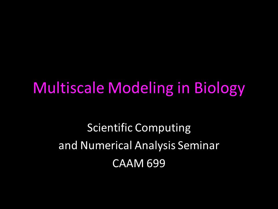 Multiscale Modeling in Biology Scientific Computing and Numerical Analysis Seminar CAAM 699