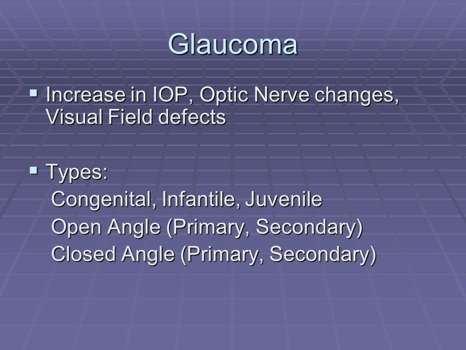 Glaucoma  Increase in IOP, Optic Nerve changes, Visual Field defects  Types: Congenital, Infantile, Juvenile Congenital, Infantile, Juvenile Open Angle (Primary, Secondary) Open Angle (Primary, Secondary) Closed Angle (Primary, Secondary) Closed Angle (Primary, Secondary)