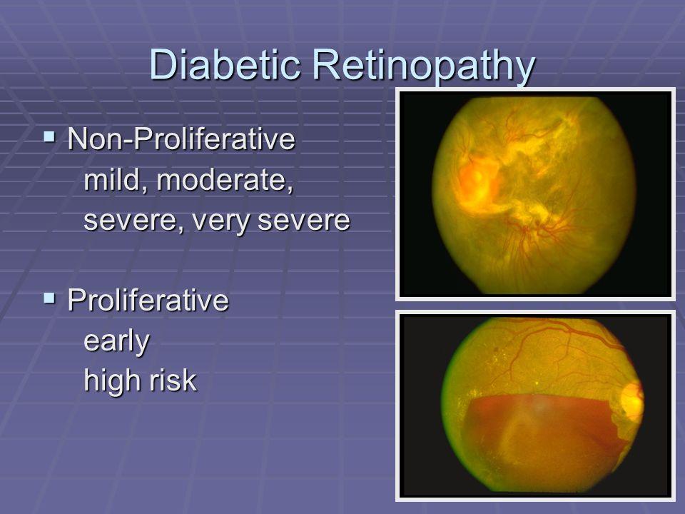 Diabetic Retinopathy  Non-Proliferative mild, moderate, mild, moderate, severe, very severe severe, very severe  Proliferative early early high risk