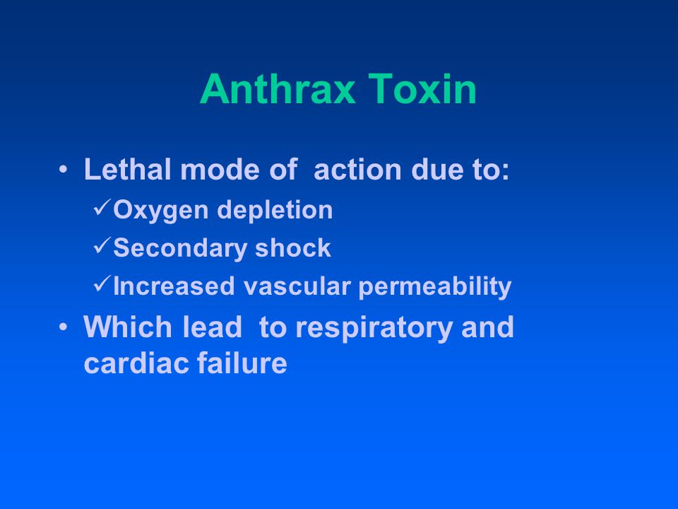 Anthrax Toxin (cont'd) Mediated by a temperature sensitive plasmid, pX01 Three components (each a thermolabile protein) Factor 1- Edema factor (EF) Factor II- Protective antigen (PA) Factor III - Lethal factor (LF)