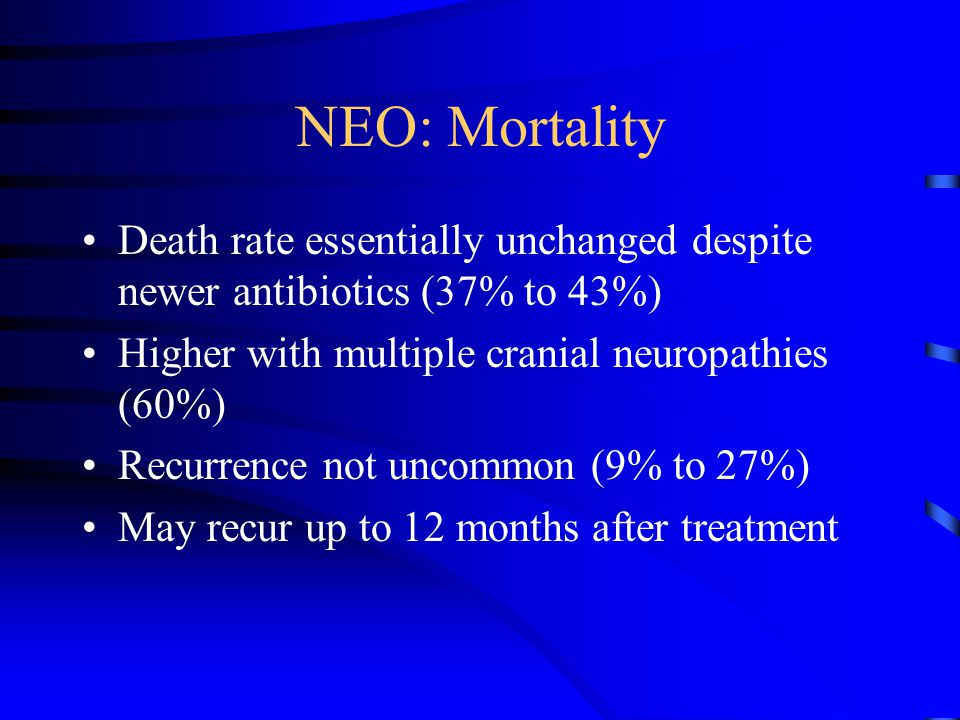 NEO: Mortality Death rate essentially unchanged despite newer antibiotics (37% to 43%) Higher with multiple cranial neuropathies (60%) Recurrence not