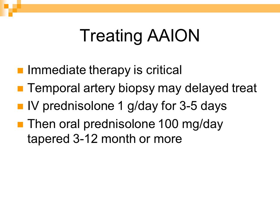 Treatment of NAION Untreated case remain stable but recovery of 3 lines 31% after 2 years Recurrence unusual 6.4% No proven therapy surgery no benefit No proven prophylaxis Asprin reducing incidence of fellow eye is unclear