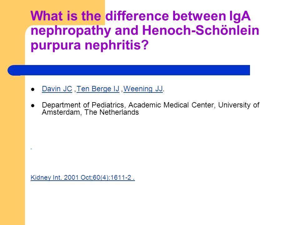 What is the difference between IgA nephropathy and Henoch-Schönlein purpura nephritis? Davin JC, Ten Berge IJ, Weening JJ. Davin JCTen Berge IJWeening