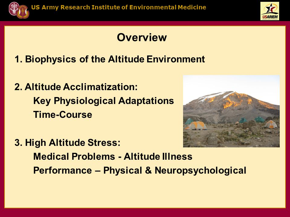 US Army Research Institute of Environmental Medicine Overview 1.