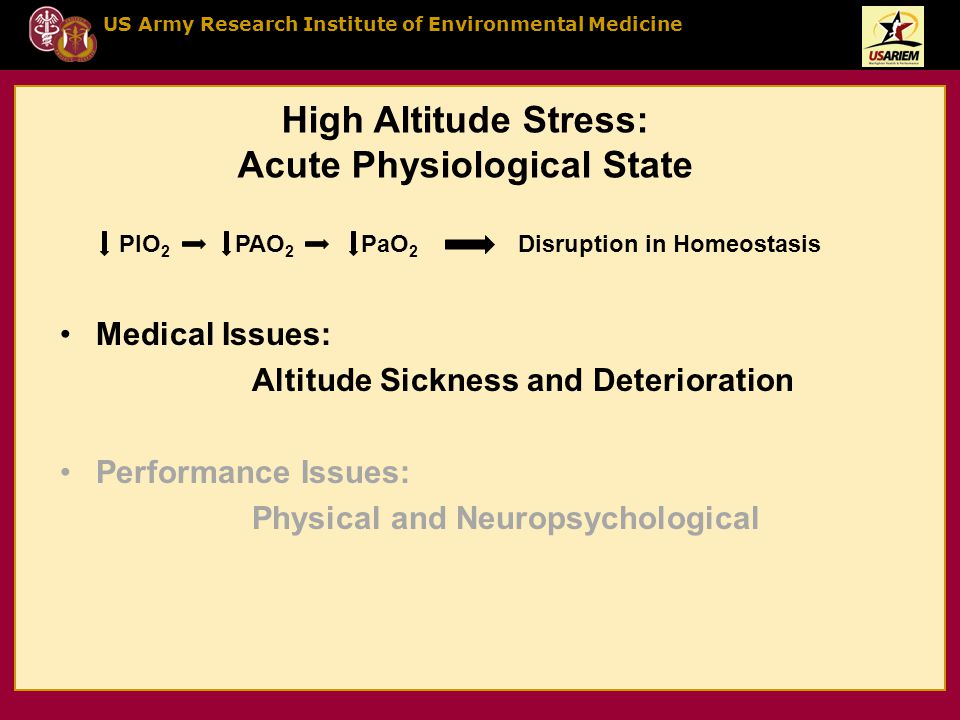 US Army Research Institute of Environmental Medicine High Altitude Stress: Acute Physiological State Medical Issues: Altitude Sickness and Deteriorati