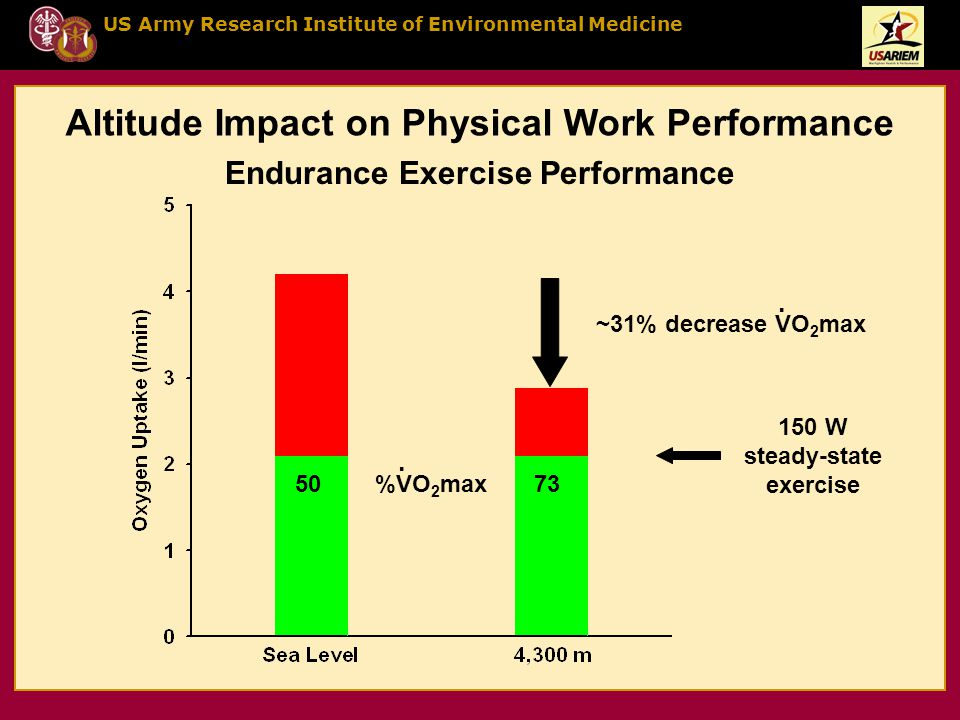 US Army Research Institute of Environmental Medicine Altitude Impact on Physical Work Performance 150 W steady-state exercise ~31% decrease VO 2 max.
