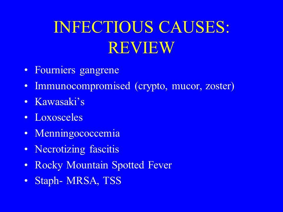 INFECTIOUS CAUSES: REVIEW Fourniers gangrene Immunocompromised (crypto, mucor, zoster) Kawasaki's Loxosceles Menningococcemia Necrotizing fascitis Roc