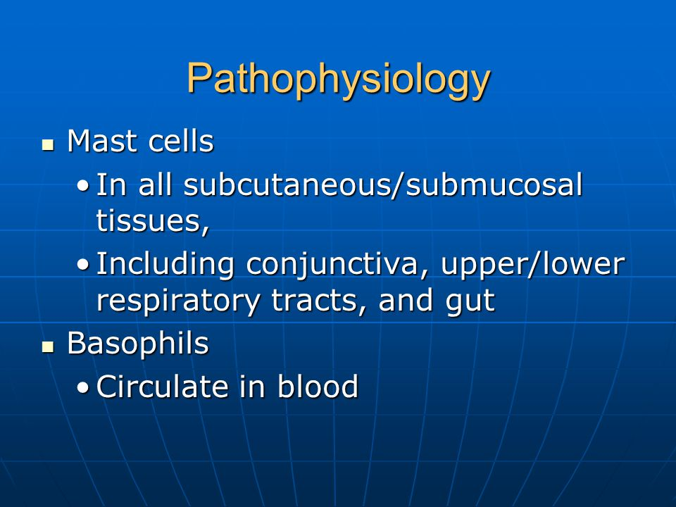 Pathophysiology Mast cells Mast cells In all subcutaneous/submucosal tissues,In all subcutaneous/submucosal tissues, Including conjunctiva, upper/lower respiratory tracts, and gutIncluding conjunctiva, upper/lower respiratory tracts, and gut Basophils Basophils Circulate in bloodCirculate in blood