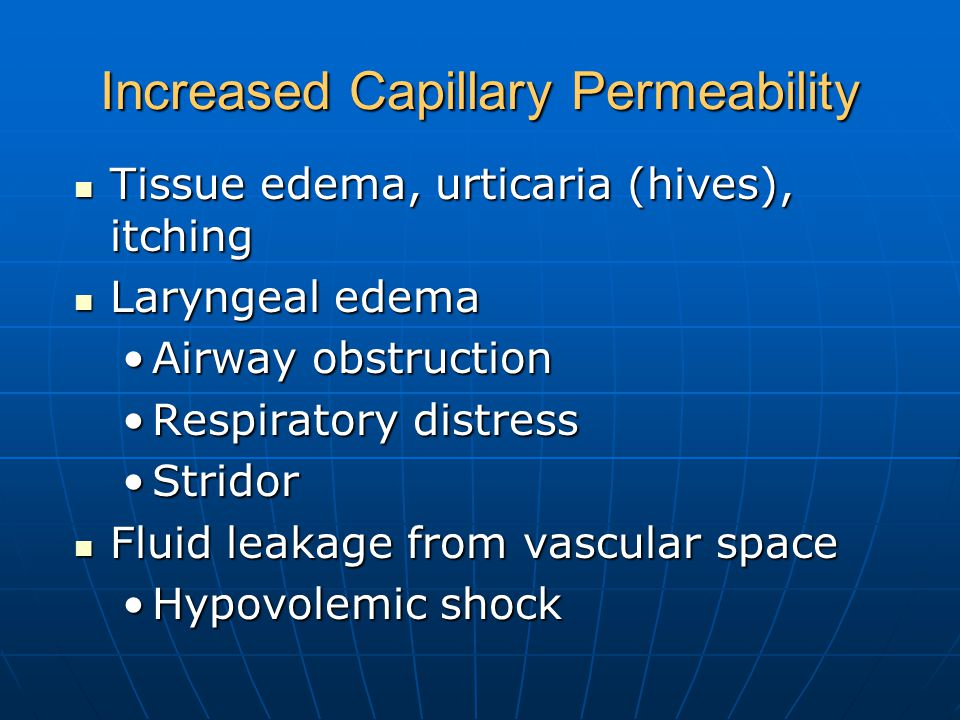 Increased Capillary Permeability Tissue edema, urticaria (hives), itching Tissue edema, urticaria (hives), itching Laryngeal edema Laryngeal edema Airway obstructionAirway obstruction Respiratory distressRespiratory distress StridorStridor Fluid leakage from vascular space Fluid leakage from vascular space Hypovolemic shockHypovolemic shock