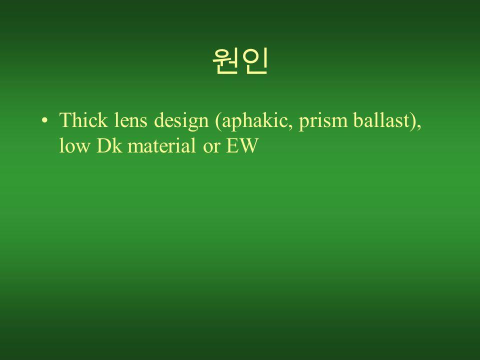 원인 Thick lens design (aphakic, prism ballast), low Dk material or EW