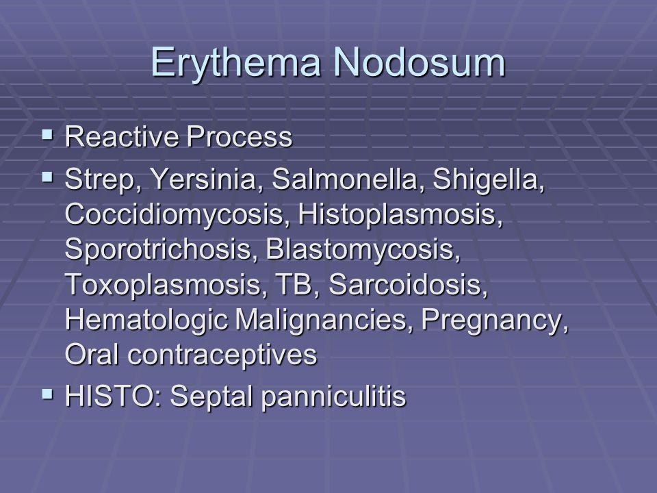 Erythema Nodosum  Reactive Process  Strep, Yersinia, Salmonella, Shigella, Coccidiomycosis, Histoplasmosis, Sporotrichosis, Blastomycosis, Toxoplasmosis, TB, Sarcoidosis, Hematologic Malignancies, Pregnancy, Oral contraceptives  HISTO: Septal panniculitis