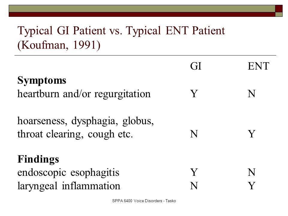 SPPA 6400 Voice Disorders - Tasko Typical GI Patient vs. Typical ENT Patient (Koufman, 1991) GIENT Symptoms heartburn and/or regurgitationYN hoarsenes