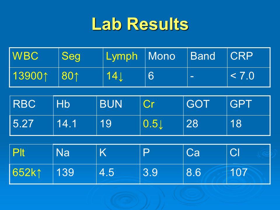 Lab Results PltNaKPCaCl 652k↑1394.53.98.6107 WBCSegLymphMonoBandCRP 13900↑80↑14↓6-< 7.0 RBCHbBUNCrGOTGPT 5.2714.1190.5↓2818