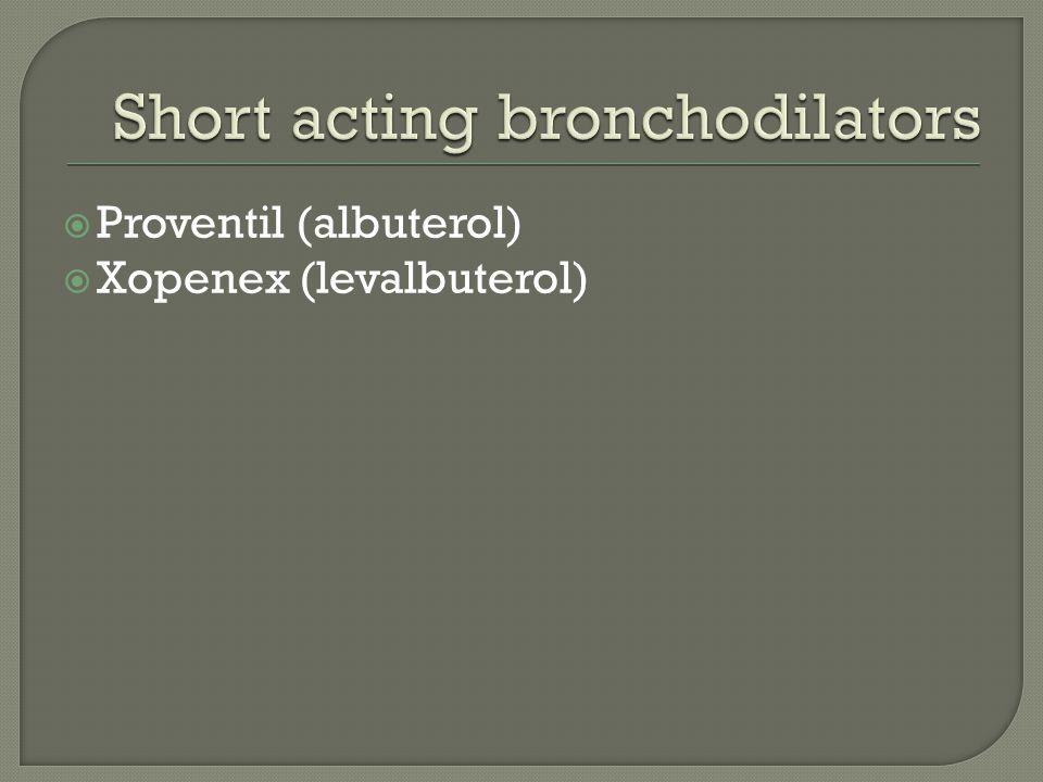  Proventil (albuterol)  Xopenex (levalbuterol)