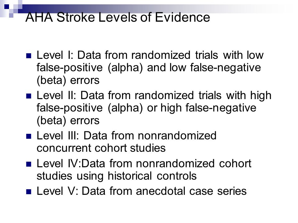AHA Stroke Levels of Evidence Level I: Data from randomized trials with low false-positive (alpha) and low false-negative (beta) errors Level II: Data from randomized trials with high false-positive (alpha) or high false-negative (beta) errors Level III: Data from nonrandomized concurrent cohort studies Level IV:Data from nonrandomized cohort studies using historical controls Level V: Data from anecdotal case series