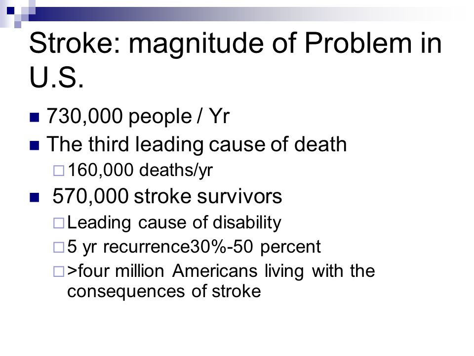 Stroke: magnitude of Problem in U.S.
