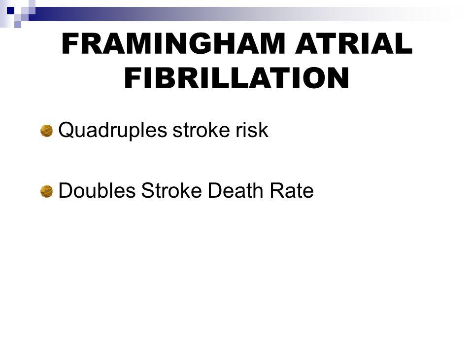 FRAMINGHAM ATRIAL FIBRILLATION Quadruples stroke risk Doubles Stroke Death Rate