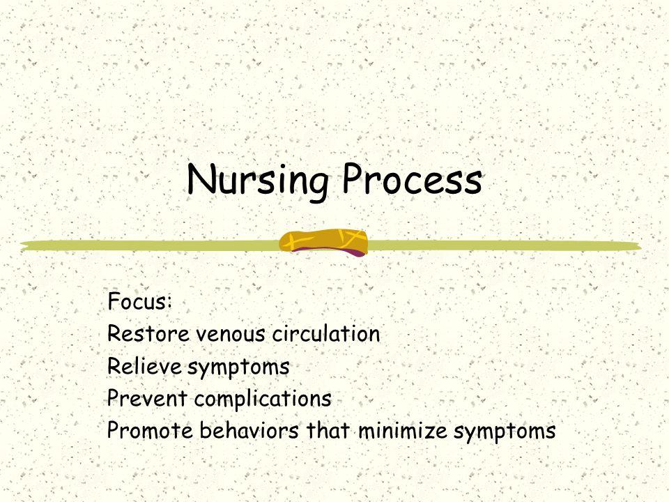 Nursing Process Focus: Restore venous circulation Relieve symptoms Prevent complications Promote behaviors that minimize symptoms