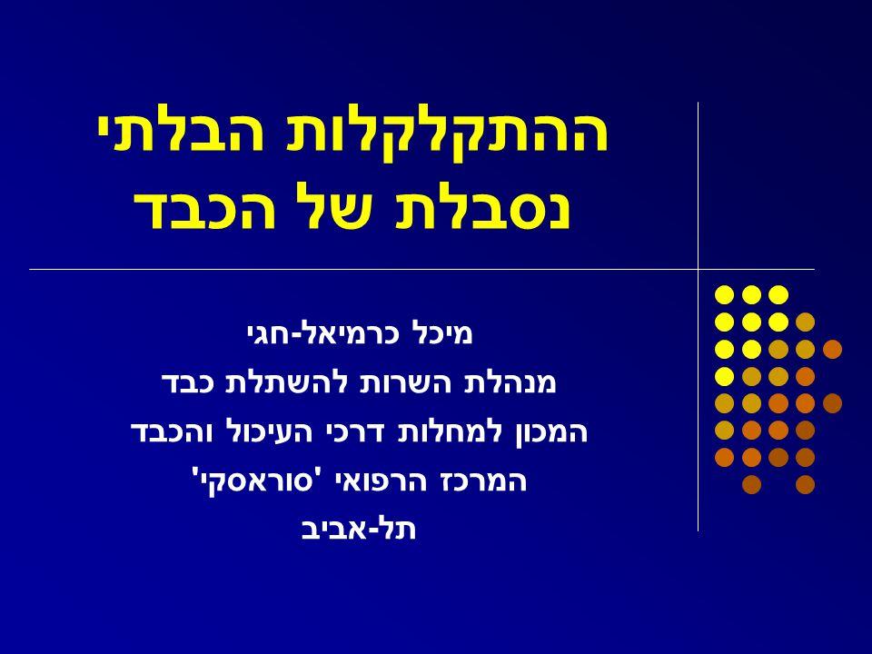 ההתקלקלות הבלתי נסבלת של הכבד מיכל כרמיאל - חגי מנהלת השרות להשתלת כבד המכון למחלות דרכי העיכול והכבד המרכז הרפואי ' סוראסקי ' תל - אביב