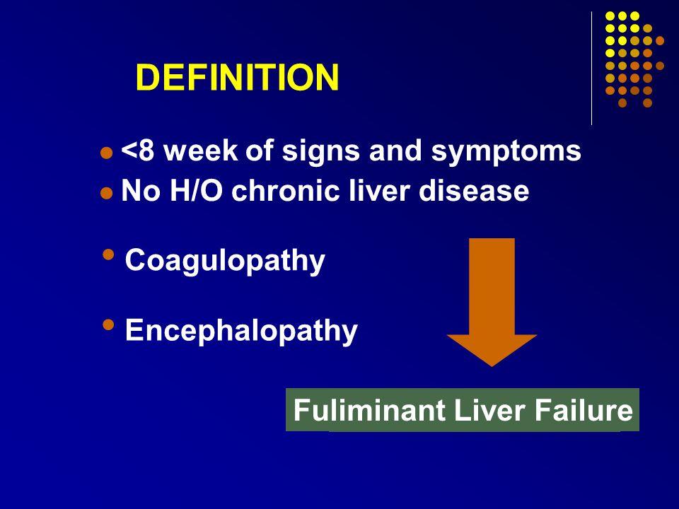 DEFINITION <8 week of signs and symptoms No H/O chronic liver disease Coagulopathy Encephalopathy Acute HepatitisSevere Acute Hepatitis Fuliminant Liver Failure