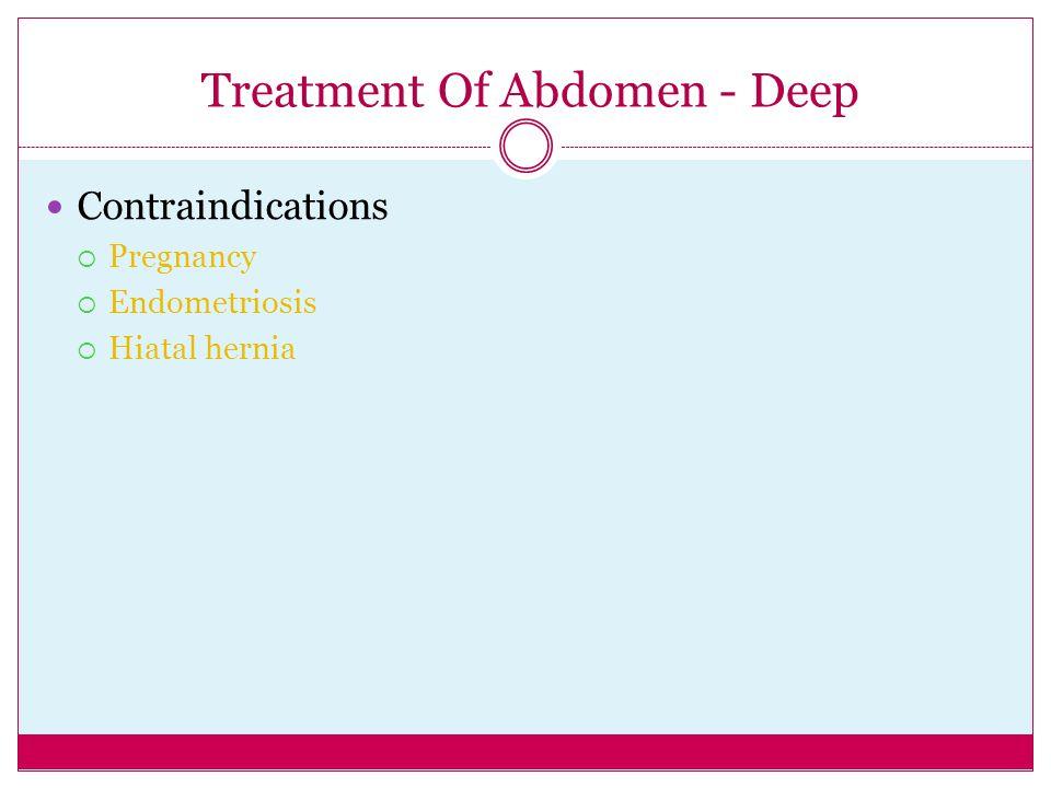 Treatment Of Abdomen - Deep Contraindications  Pregnancy  Endometriosis  Hiatal hernia