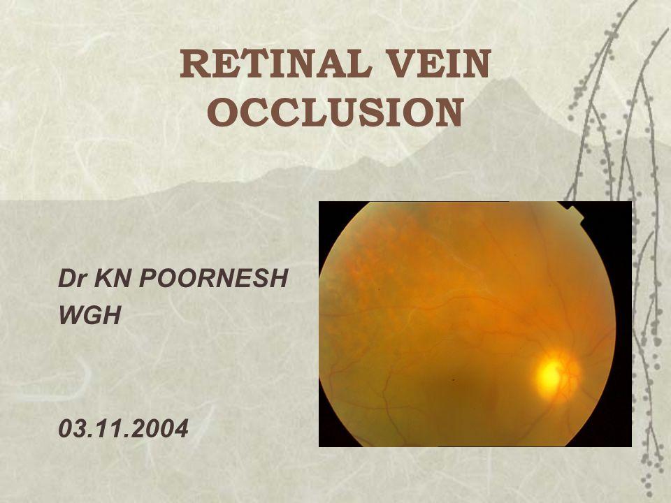 RETINAL VEIN OCCLUSION Dr KN POORNESH WGH 03.11.2004