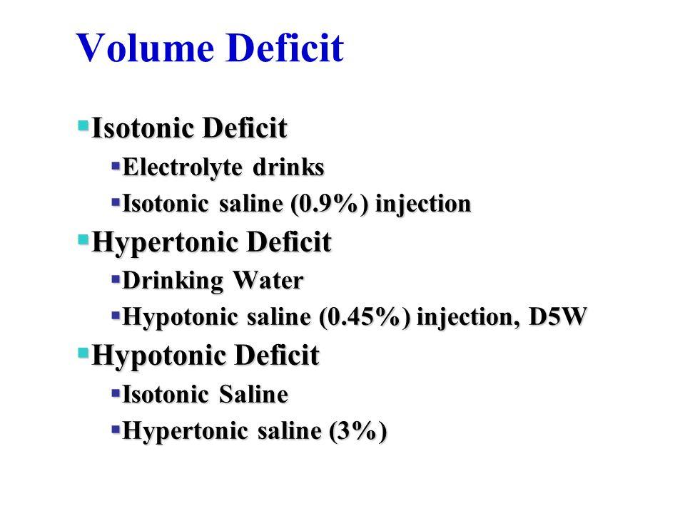 Volume Deficit  Isotonic Deficit  Electrolyte drinks  Isotonic saline (0.9%) injection  Hypertonic Deficit  Drinking Water  Hypotonic saline (0.45%) injection, D5W  Hypotonic Deficit  Isotonic Saline  Hypertonic saline (3%)
