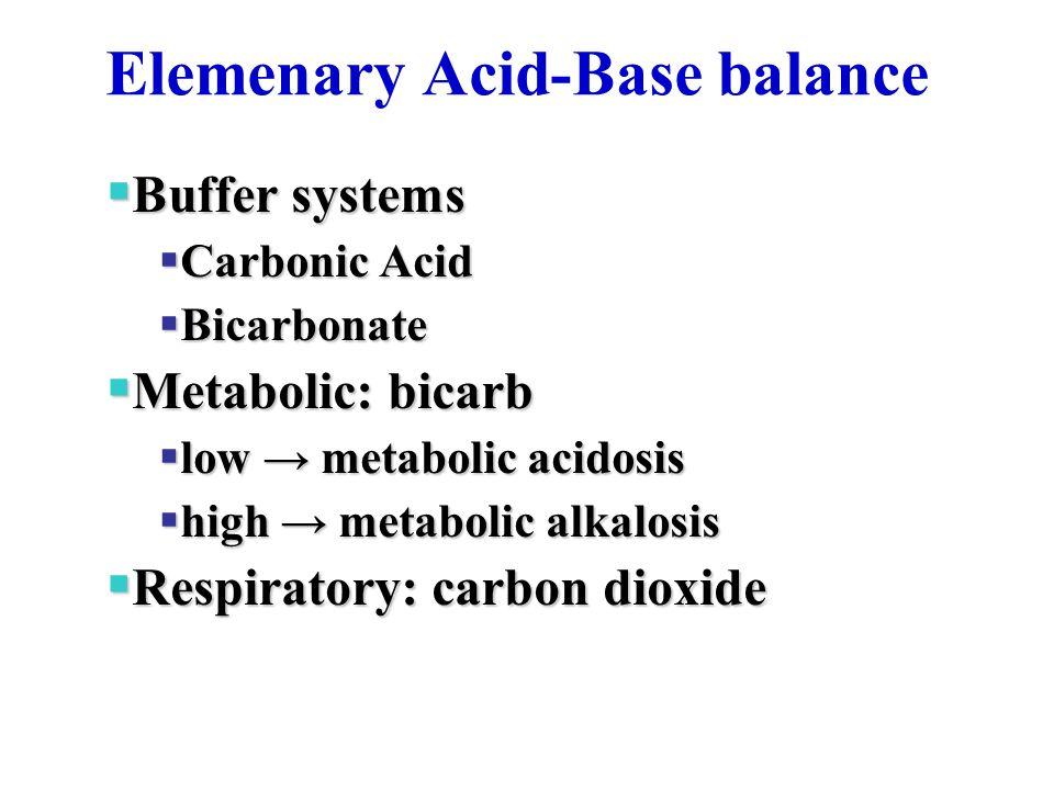 Elemenary Acid-Base balance  Buffer systems  Carbonic Acid  Bicarbonate  Metabolic: bicarb  low → metabolic acidosis  high → metabolic alkalosis  Respiratory: carbon dioxide