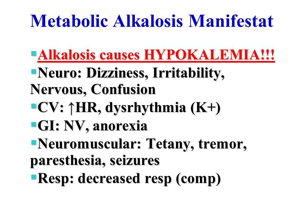 Metabolic Alkalosis Manifestat  Alkalosis causes HYPOKALEMIA!!.