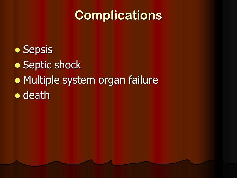 Complications Sepsis Sepsis Septic shock Septic shock Multiple system organ failure Multiple system organ failure death death