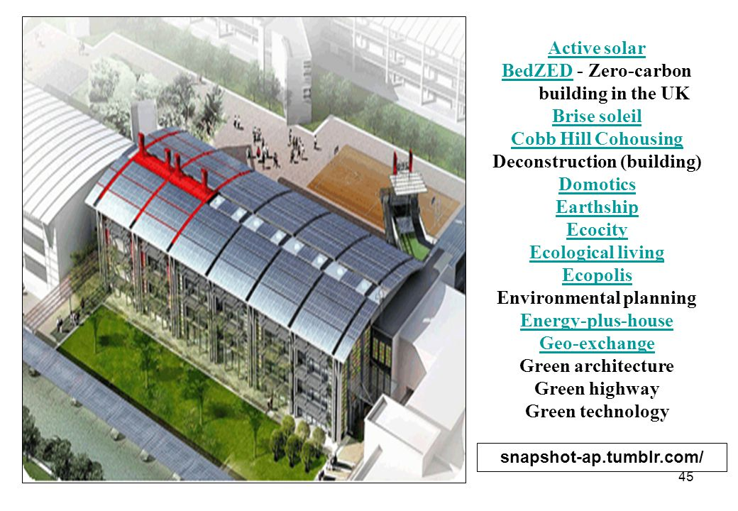 45 Active solar BedZEDBedZED - Zero-carbon building in the UK Brise soleil Cobb Hill Cohousing Deconstruction (building) Domotics Earthship Ecocity Ec