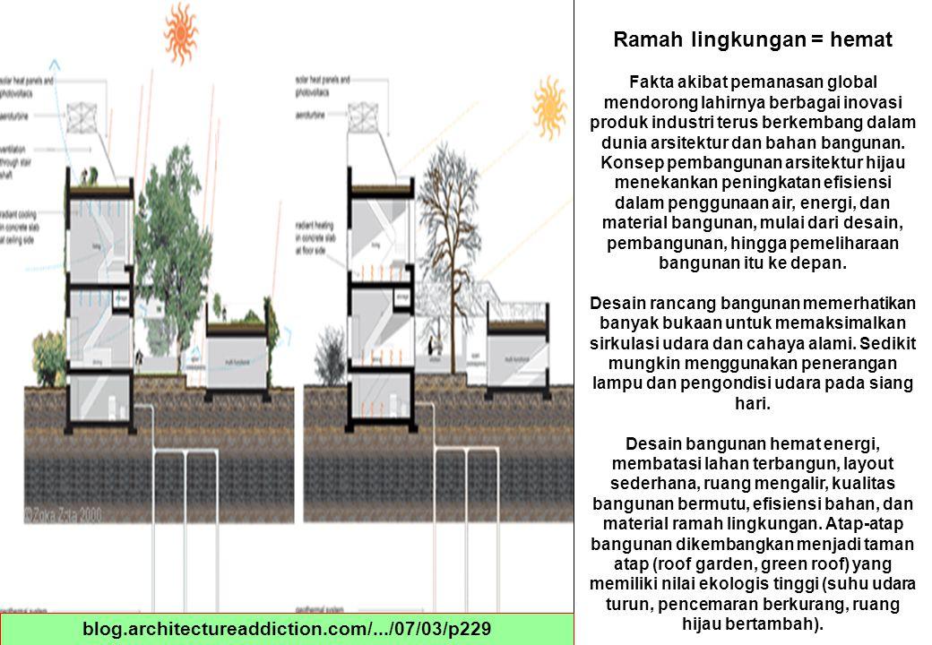 blog.architectureaddiction.com/.../07/03/p229 Ramah lingkungan = hemat Fakta akibat pemanasan global mendorong lahirnya berbagai inovasi produk indust