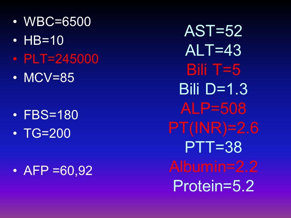 AST=52 ALT=43 Bili T=5 Bili D=1.3 ALP=508 PT(INR)=2.6 PTT=38 Albumin=2.2 Protein=5.2 WBC=6500 HB=10 PLT=245000 MCV=85 FBS=180 TG=200 AFP =60,92
