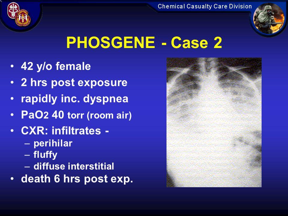 PHOSGENE - Case 2 42 y/o female 2 hrs post exposure rapidly inc.